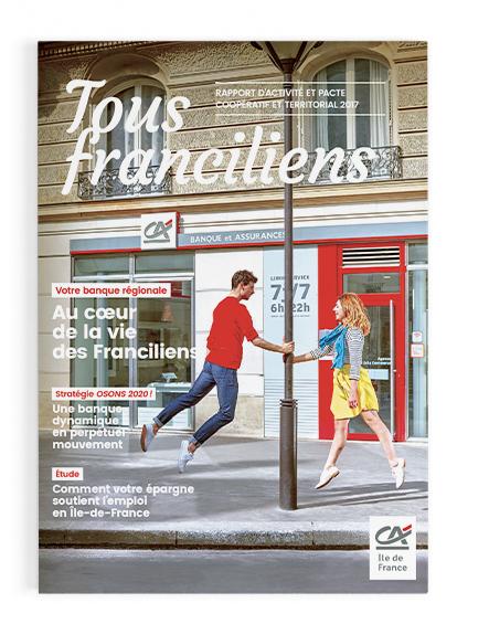 Conception graphique du rapport annuel du Crédit Agricole Ile de France