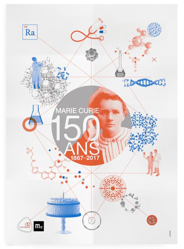 Création de l'affiche pour les 150 ans de Marie Curie