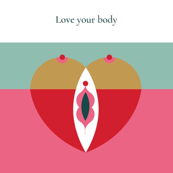 Illustration d'un coeur corps Love your body